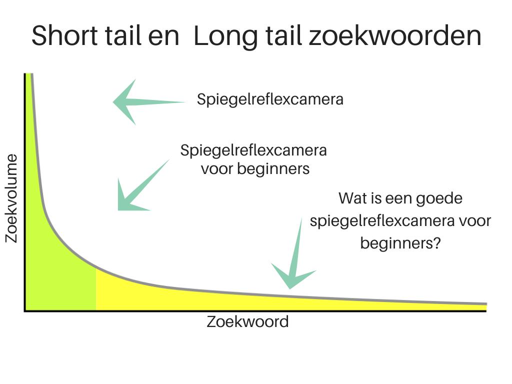 Short tail en long tail keywords curve voorbeeld