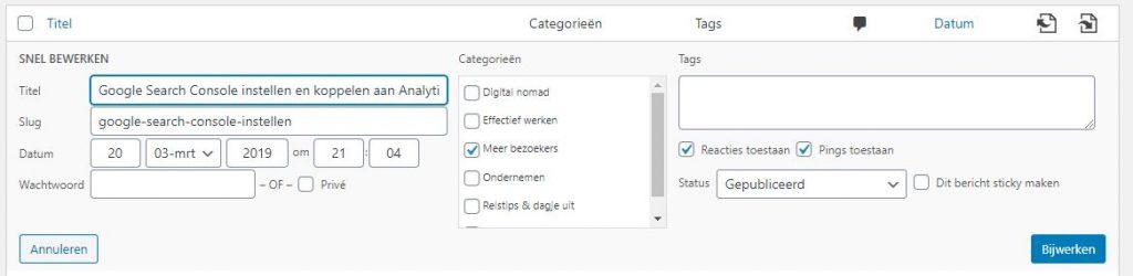 Categorie en tags aanpassen via 'Snel bewerken' bij 'Berichten'